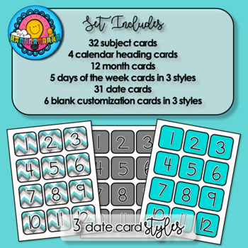 Teal Grey & White Chevron Themed Pocket Chart Subject Schedule Cards & Calendar