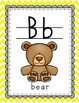 Teal-Grey-Yellow Chevron themed Alphabet Wall Cards