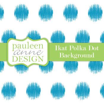 Teal Ikat Polka Dot Background