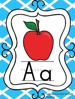 Teal Lattice Alphabet Line