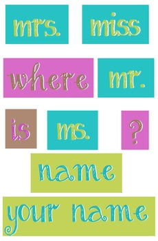 Teal, Lime and Purple - WORDS for your Where is the counselor sign