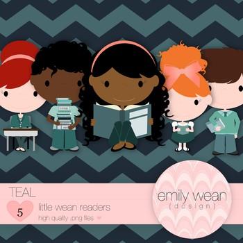 Teal - Little Readers Clip Art
