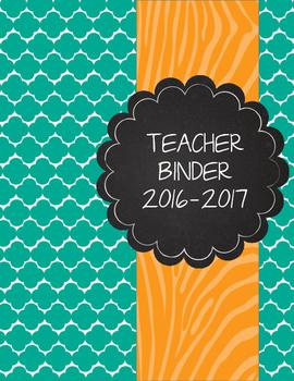 Teal Moroccan and Wild Orange Zebra Teacher Binder