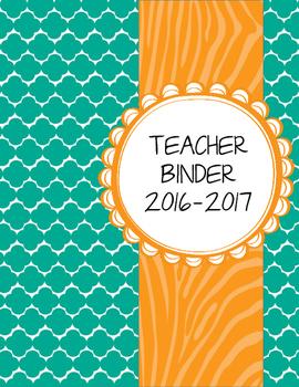 Teal Moroccan and Wild Orange Zebra Teacher Binder with White