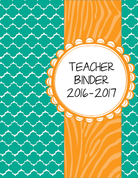Teal Moroccan and Wild Orange Zebra Teacher Binder with White