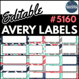 "Teal, Navy, Gray, & Coral Editable Avery Labels- #5160 (1"" x 2 5/8"")"