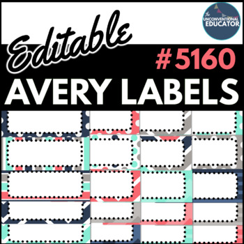 teal navy gray coral editable avery labels 5160 1 x 2 5 8