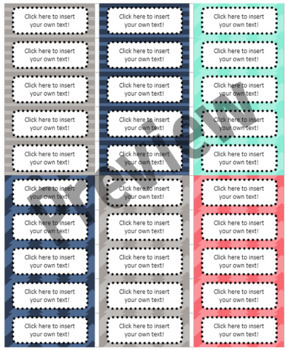 """Teal, Navy, Gray, & Coral Editable Avery Labels- #5160 (1"""" x 2 5/8"""")"""