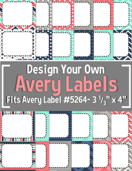 """Teal, Navy, Gray, & Coral Editable Avery Labels- #5264 (3 1/3"""" x 4"""")"""