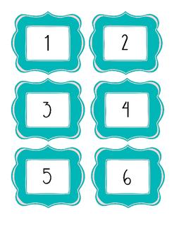 Teal Number Labels