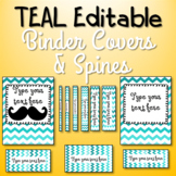 EDITABLE Binder Covers and Spines - Teal Ombre