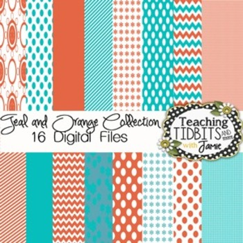 Digital Paper - Teal & Orange Collection {Papers for Personal and Commercial}