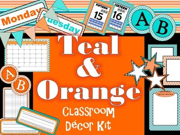 Teal & Orange Themed Classroom Decor Kit - EDITABLE