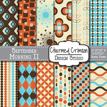 Teal, Orange, and Brown Retro Digital Paper 1215