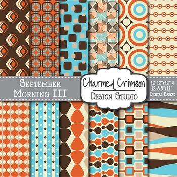 Teal, Orange, and Brown Retro Digital Paper 1214