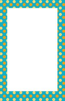 Teal, Orange, and Yellow Polka dot Border