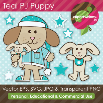 Teal PJ Puppy & Bunny Graphics