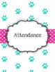 Teal Paw Print and Pink Polka Dot Bright Teacher Binder Dog Theme