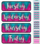 Teal & Pink Chevron Themed Pocket Chart Subject Schedule Cards and Calendar