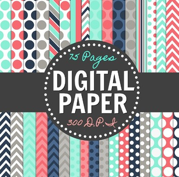 Teal, Pink, Gray, and Navy Digital Paper Pack