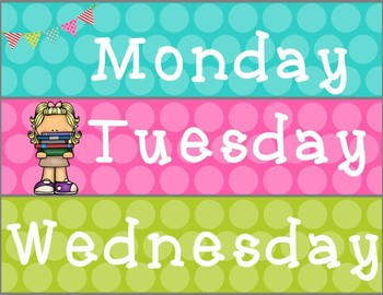 Teal Pink and Lime Days of the Week Drawer Labels