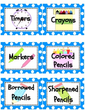Teal Polka Dot Classroom Supply Labels