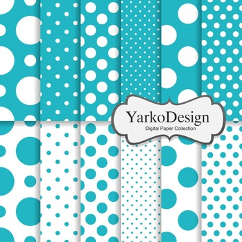 Teal Polka Dot Digital Scrapbooking Paper Set, 12 Digital Paper Sheets