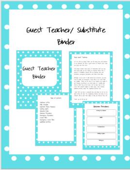 Teal Polkadot Guest Teacher Substitute Binder