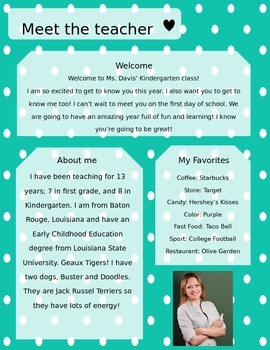 Teal Polkadot Meet The Teacher Template **Editable**