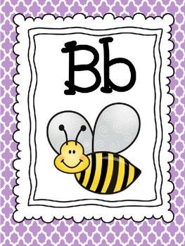 Teal, Purple, and Gray Quatrefoil Alphabet Cards