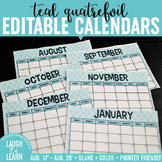 Editable Calendar // Teal Quatrefoil {August 2017 - 2020}