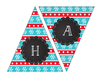 Teal, Red, and White Merry Christmas and Happy Holidays Printable Banners
