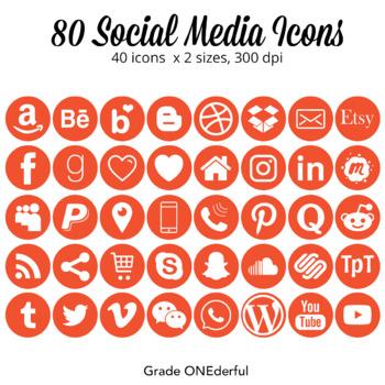 Social Media Icons Round Orange Instagram Pinterest Snapchat
