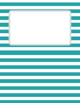 Teal Striped Binder Cover