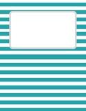 Teal Striped Binder Cover