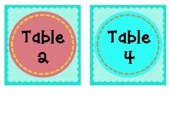 Teal Table Numbers