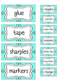 Teal Teacher Toolbox Label Kit