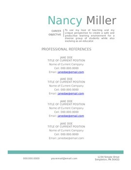 Teal Teaching Reference Template DIY