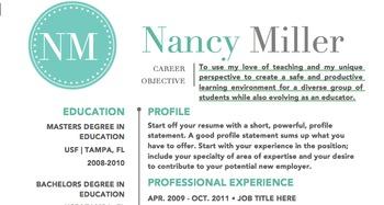 Teal Teaching Resume Template DIY