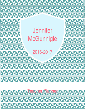 Teal Triangle Editable Binder Cover