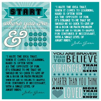 Teal Turquoise Aqua Motivational Poster Pack- Pretty Classroom, Motivated Kids