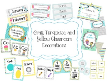 Teal/ Turquoise, Gray, and Yellow Classroom Theme (with editable pages)