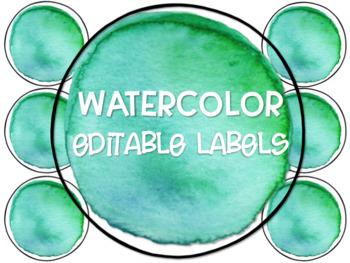 Teal Watercolor Circle Labels