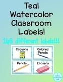 Teal Watercolor Classroom Labels