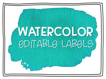 Teal Watercolor Editable Labels