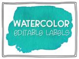 Teal Watercolor Editable Labels