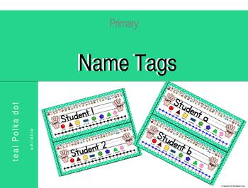 Teal & White Polka Dot Desk Name Tags (Editable)