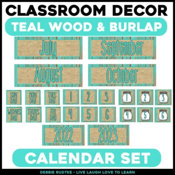 Teal Wood & Burlap Calendar Pack
