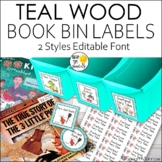 Teal Wood Classroom Library Labels | 400+ Book Bin Labels