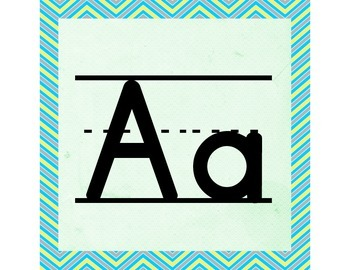Teal & Yellow ABC Word Wall Letters